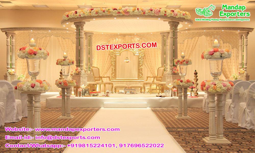 Modern Wedding Wooden Look FRP Mandap