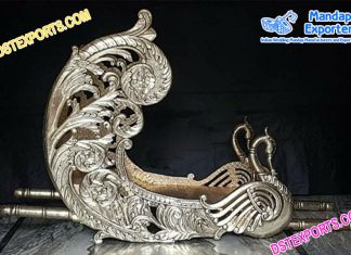 Silver Metal Carved Wedding Doli/Palki
