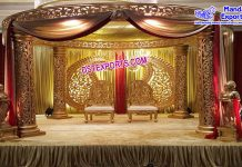 Wedding Fiber Carved Round Mandap With Paisley