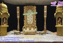 Exclusive Golden Wedding Stage With Temples