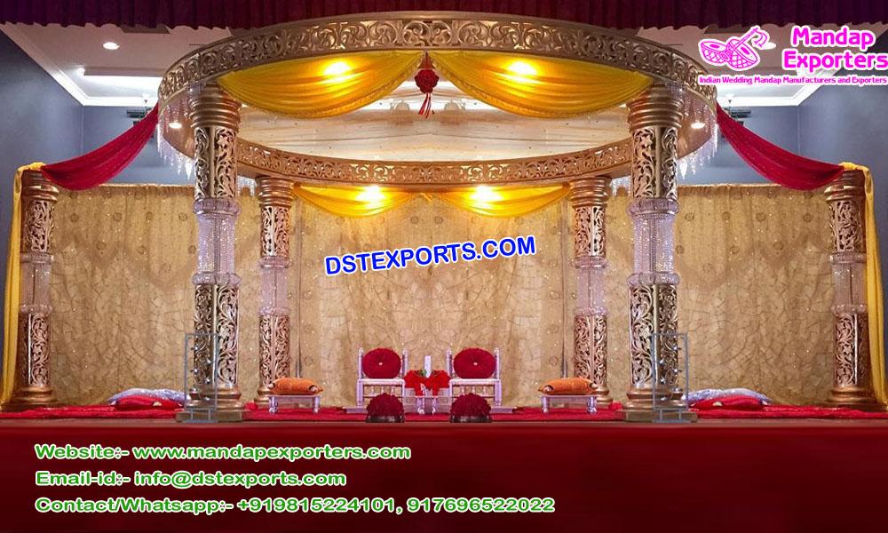 Glamorous Wedding Golden Fiber Crystal Mandap