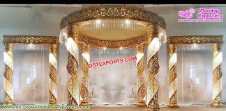 Glorious Wedding Golden Fiber Crystal Mandap