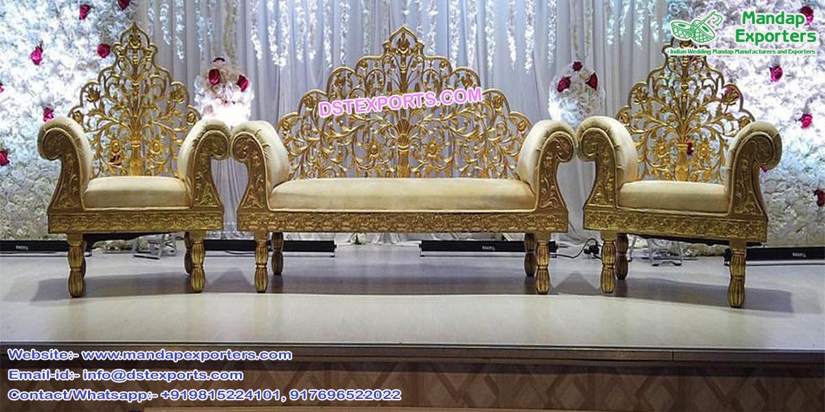 Indian Style Wooden Carved Wedding Furniture Set