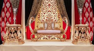 Luxurious Wedding Sofa With High-Back Chairs