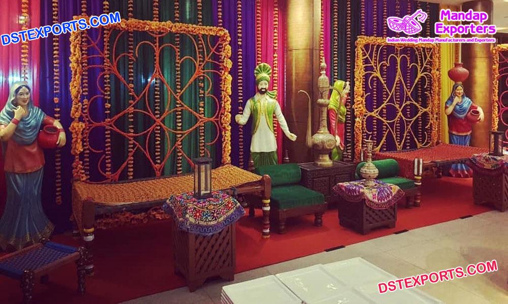Punjabi Theme Wedding Mehndi Stage Decoration