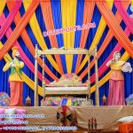 Traditional Mehndi Stage with Colorful Backdrops