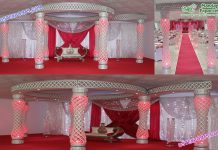 Elegant Wedding Fiber Crystal Mandap Set