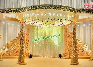 Gujarati Wedding Wooden Peacock Pillar Mandap