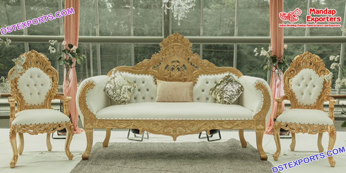 Luxurious Weddig White Gold Furniture Set