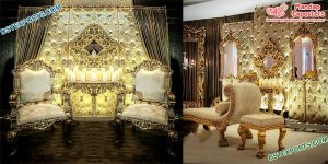 Prominent Wedding Golden Leather Back-Frames