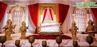 Royal Wedding Stage Decoration with Musical Ganesha Statues