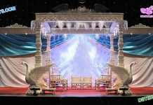 Stylish Swan Pillar Wedding Mandap Dallas
