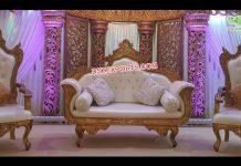 Designer Golden Carved Wedding Furniture Set