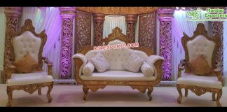 Designer Golden Carved Wedding Furniture Set