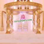 Gorgeous Golden Fiber Crystal Wedding Mandap