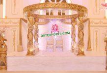 Gorgeous Golden Fiber Crystal Wedding Mandap