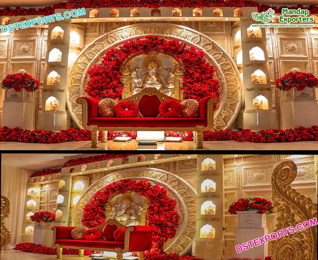 Grand Wedding Ganesha Theme Stage Decor – Mandap Exporters
