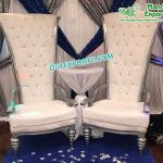 Latest High Back Silver Chairs for Bride & Groom