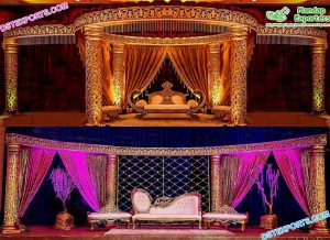 Marvelous Wedding Golden Mandap Cum Stage London