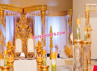 Stylish Wedding Golden Butterfly Mandap New York