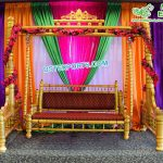 Wedding Stage Golden Wooden Carved Swing