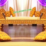 Designer Golden Backless Couch For Mehndi Stage