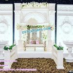 Grand Victorian Wedding White Theme Stage Decor