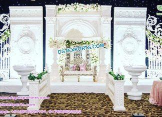 Grand Victorian Wedding White Theme Stage Decor