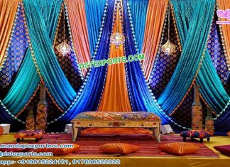 Gujarati Wedding Zari Work Backdrop Curtains