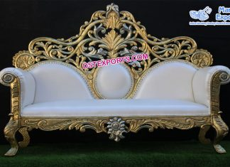 Maharaja Wedding Golden Carved Sofa London