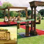 Outdoor Gujarati Wedding Wooden Hand-Craft Mandap