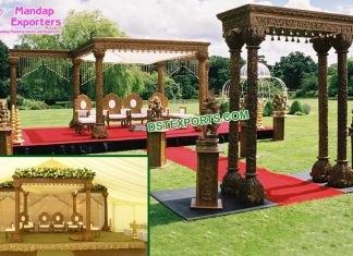 Outdoor Gujarati Wedding Wooden Hand-Craft Mandap