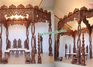 Special Wedding Wooden Carved Spiral Mandap