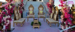 Gujarati Wedding Golden Mandap Chairs Set