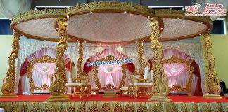 Gujarati Wedding Wooden Peacock Mandap London