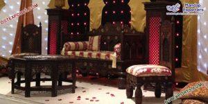 Muslim Mehndi Stage Wooden Handicraft Furniture Set