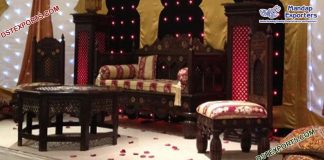 Muslim Mehndi Stage Wooden Handicraft Furniture Set