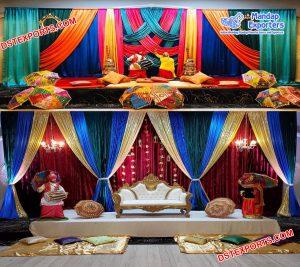 Punjabi Mehndi Sangeet Stage Decoration USA