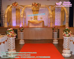 Royal Wedding Golden Carved Tusk Mandap Dubai
