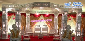 Stylish Rajwada Look White Wedding Mandap