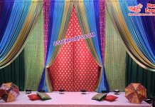 Zari Backdrop Curtains For Sangeet Ceremony