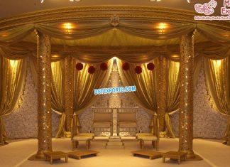 Glamrous Indian Wedding Oval Golden Mandap USA