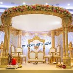 Gorgeous Triple Pillars Wedding Wooden Mandap