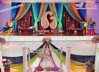 Indian Wedding Mehndi Setup With Statues