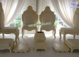 Indian Wedding White Mandap Chair Set
