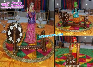 Punjabi Wedding Decoration Phulkari Table Overlays