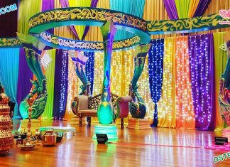 Srilankan Wedding Colorful FRP Peacock Mandap
