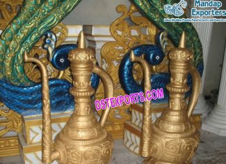 Wedding Fiber Golden Surahis For Decoration