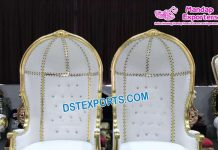 Hooded Canopy Style Wedding Throne Chair