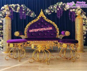 Royal Wedding Metal King Throne Sofa Set